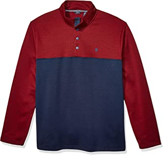 Izod Men's Big and Tall Premium Essentials Spectator Button Mock Neck Colorblock Fleece Pullover Sweater
