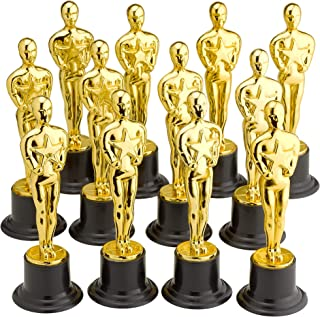 Kicko Plastic Oscar Trophy - 12 Pack - 6 Inch Golden Statue Achievement Prize Award - Recognition Award in School, Sports and Office, Carnival Winners, Party Favors and Accessories, Decoration