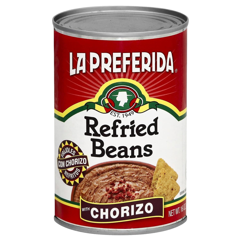 Max 40% OFF Albuquerque Mall La Preferida Refried Beans Chorizo 16-Ounce 12 Pack of