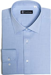 Men's Regular Fit Long Sleeves Solid Pinpoint Cotton Dress Shirts