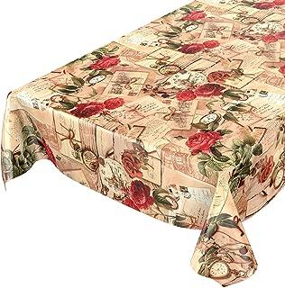 dimensioni selezionabili lavabile Rosen Herzen Romantik Antik Grau motivo con rose e cuori Rund 100cm asciugamani di colore grigio antico Tovaglia cerata