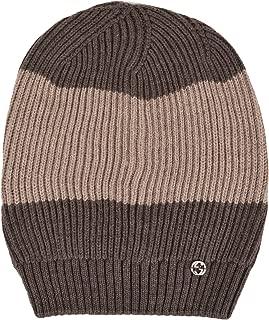 Men's Wool Brown Beige Interlocking GG Slouchy Beanie Hat