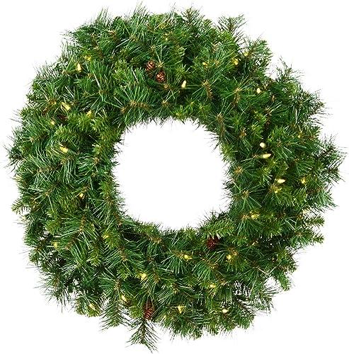 "Vickerman 42"" Cheyenne Pine Artificial Christmas Wreath, Warm White LED Lights - Faux Christmas Wreath - Seasonal Ind..."