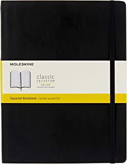 """Moleskine Classic Soft Cover Notebook, Squared, XL (7.5"""" x 9.75"""") Black - Soft Cover Notebook for Writing, Sketching, Jour..."""