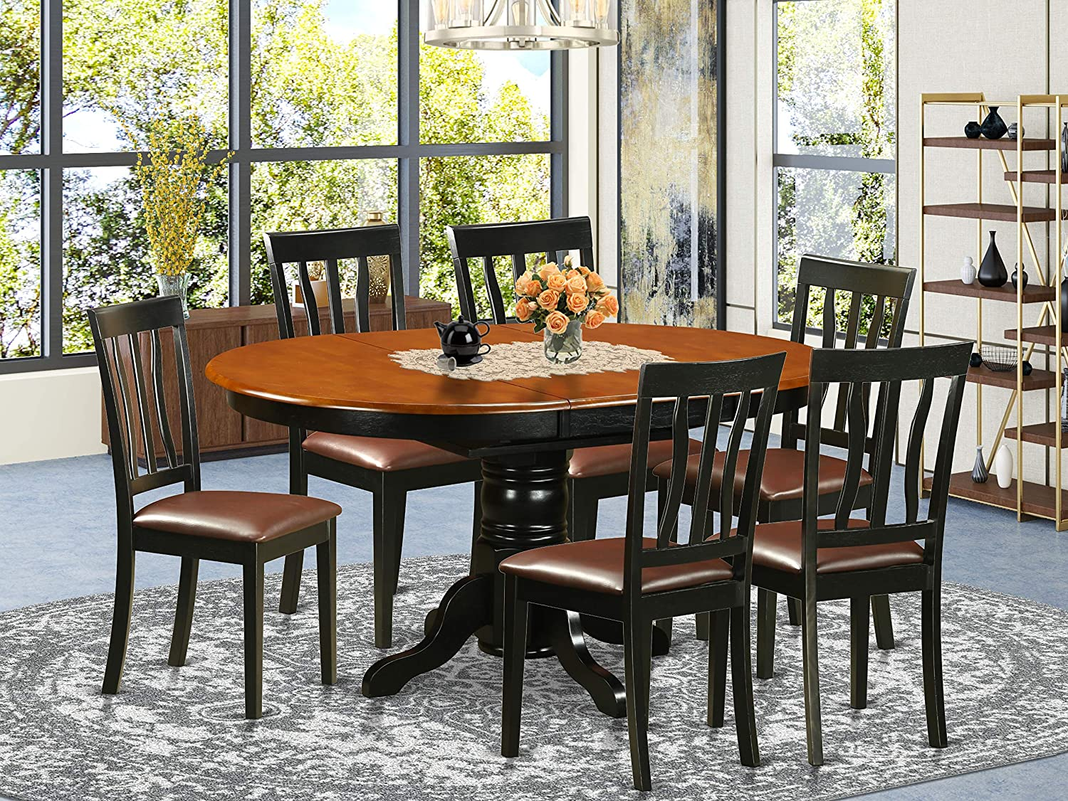 Amazon Com East West Furniture 7 Pieces Nook Kitchen Table Set Pu Leather Wood Chairs Black And Cherry Finish Hardwood Butterfly Leaf Pedestal Modern Dining Table And Frame Furniture Decor