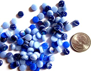 100 Mini Round Light/Dark Blue Mosaic Tiles, Glass Mosaic Pieces, Ceramic Mosaic Tiles, Mosaic Art Supplies, Tile Mosaic Supply, Mosaic Craft Tiles, 8 mm