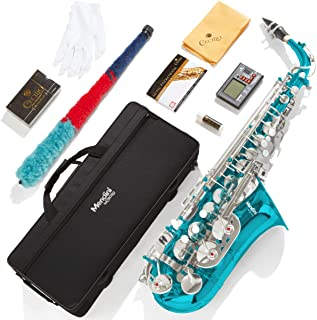 Mendini by Cecilio Eb Alto Sax w/Tuner, Case, Mouthpiece, 10 Reeds, Pocketbook and 1 Year Warranty sky blue MAS-SB+92D+PB