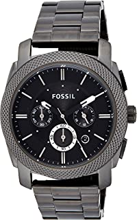Fossil Men's Fs4662 Machine Chronograph Stainless Steel Watch - Smoke, Black Band, Analog Display