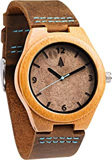 Treehut Men's Walnut Burl Bamboo Wooden Watch with Genuine Brown Leather Strap Quartz Analog with Quality Miyota Movement, 1.3 inches