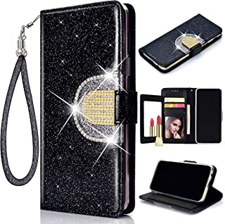 Glitter Flip Wallet Case for iPhone 8 Plus/iPhone 7 Plus, Folio Kickstand with Mirror Wristlet Lanyard Shiny Sparkle Bling Luxury Card Slots Cover for Apple 7Plus/8Plus (Black)