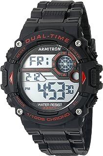 ساعة ارمترون سبورت للرجال 40/8356RED حمراء رقمية كرونوغراف بسوار اسود من الراتنج