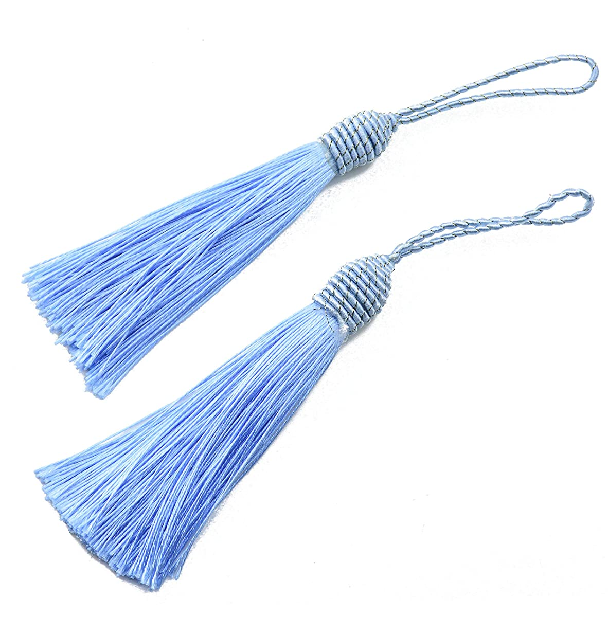 20pcs 15.5cm/6 Inch Silky Floss Bookmark Tassels with 2-Inch Cord Loop and Small Chinese Knot for Jewelry Making, Souvenir, Bookmarks, DIY Craft Accessory (Sky Blue)