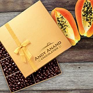 Andy Anand Premium Vegan Dark Chocolate Smothered Papaya in Gift Box, All-Natural Gourmet Christmas Holiday Corporate Food Gifts & Greeting Card, Valentines, Anniversary Birthday Get Well Baskets 1lbs
