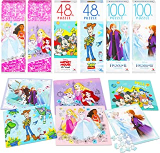 Disney Puzzles for Kids Ultimate Bundle ~ 6 Pack Assorted Jigsaw Puzzles for Toddlers Featuring Disney Princess, Toy Story, Frozen, and Mickey Mouse (Party Supplies Party Favors for Girls Boys)