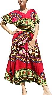 Strong Afrikan Mother Earth Dashiki Dress V Collar Smock Waist Colours
