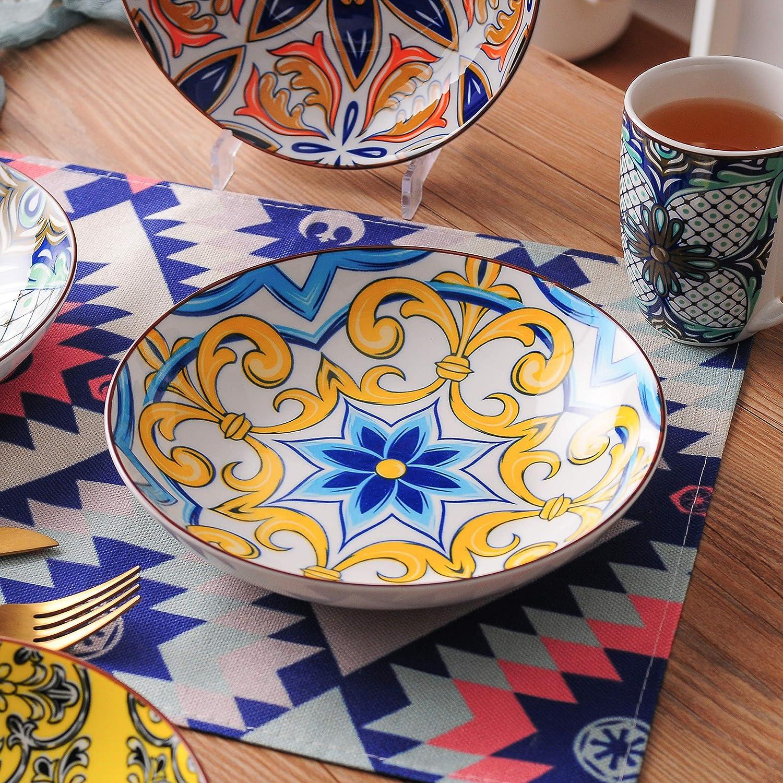 Sopa Ramen Ensaladera Taz/ón Grande de Porcelana Patr/ón de Jazm/ín Multicolores vancasso Juego de 4 Cuencos serie Jasmin Tazones de Desayuno