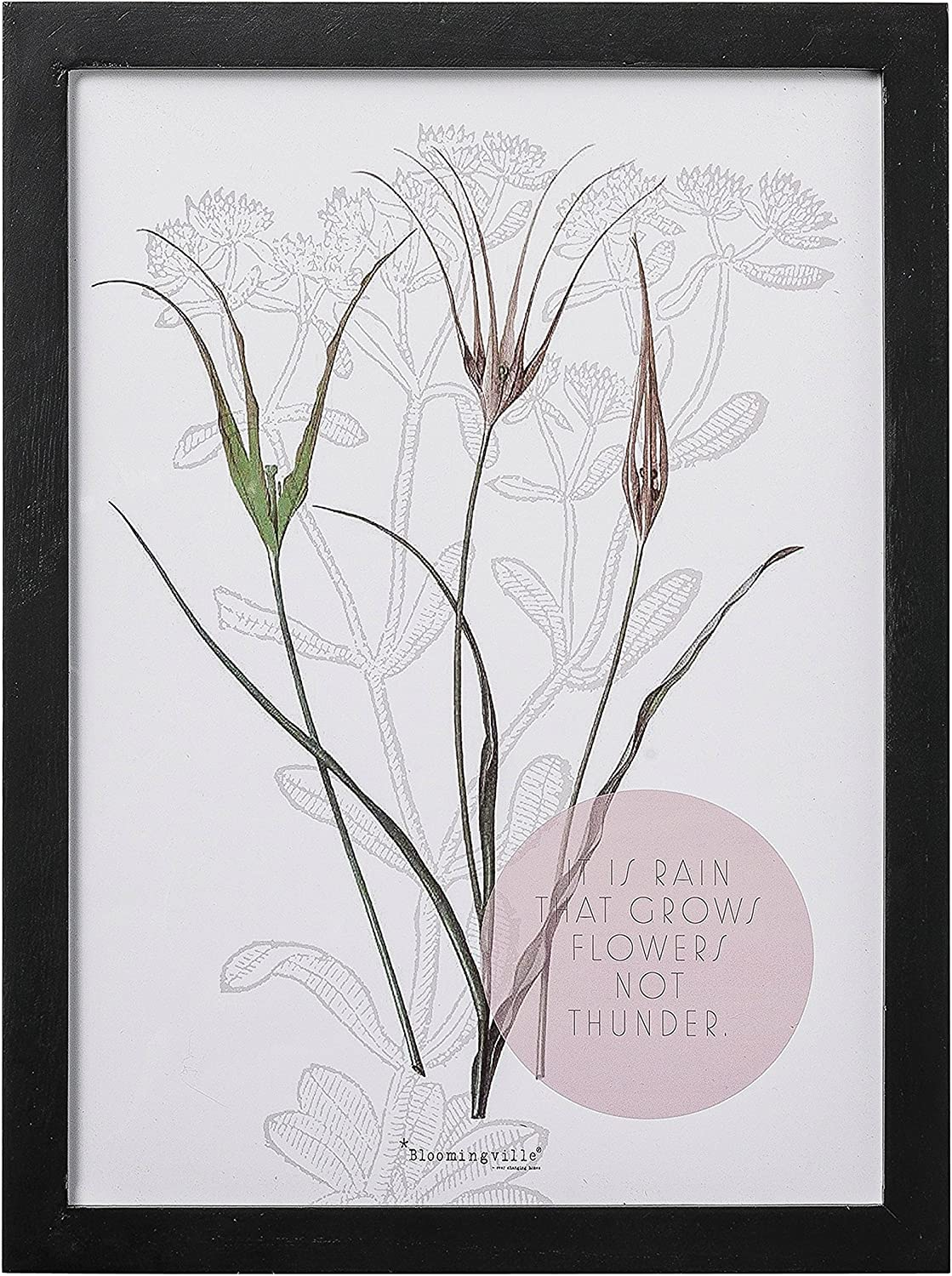 Bloomingville Wood Framed It is Rain That Grows Flowers Wall Decor