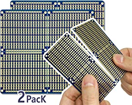 """ElectroCookie Snappable PCB, Strip Board with Power Rails for Arduino and Electronics, Gold-Plated, 3.8""""x3.5"""" (2 Pack, Blue)"""