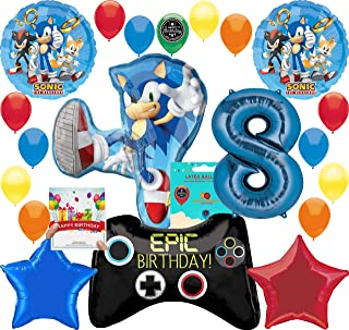 Sonic the Hedgehog Party Supplies Gamers 8th Birthday Balloon Decoration Bundle with Birthday Card by RAPIDNGUARANTEED