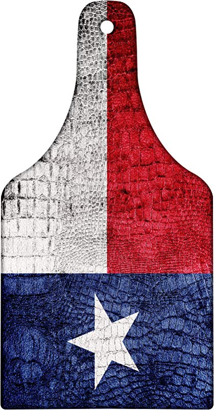 Lunarable Western Cutting Board Texas State Flag Painted On Crocodile Snake Skin Patriotic Emblem Image Decorative Tempered Glass Cutting And Serving Board Wine Bottle Shape Ruby Dark Blue White