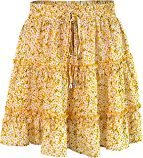 Basic Model Women's Floral High Waist Drawstring Ruffle Flared A-Line Pleated Skirt
