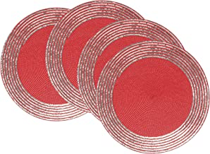 Now Designs Sequin Placemats (Set of 4), Chili Red
