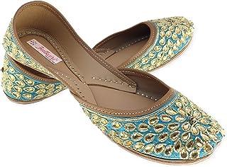 Fulkari Women's Kundan Orange Gold Genuine Soft Leather Jutis   Bite and Pinch Free Jutis   Punjabi Jutti for Ladies  Wedd...