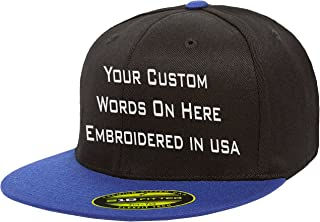 Custom Flexfit 210. Personalized Hat. Embroidered. Your Text.Fitted Flat Bill