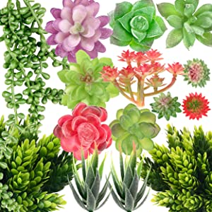 Tiyard 14pcs Artificial Succulent Plants Mini Premium Fake Succulents Assorted Succulent Plants for DIY Crafting Floral Home Garden Office Decor (Unpotted)