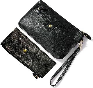 Soft Lambskin Leather Wristlet Clutch Bag For Women Designer Wallets With Strap Genuine Smartphone Wristlet Purse Signatur...