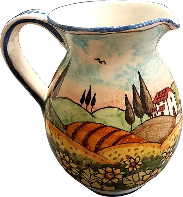 CERAMICHE D ARTE PARRINI Italian Ceramic Art Pottery Jar Pitcher Vino Vine 0 4 Gal Hand Painted Decorated Landscape Sunflowers Made In ITALY Tuscan