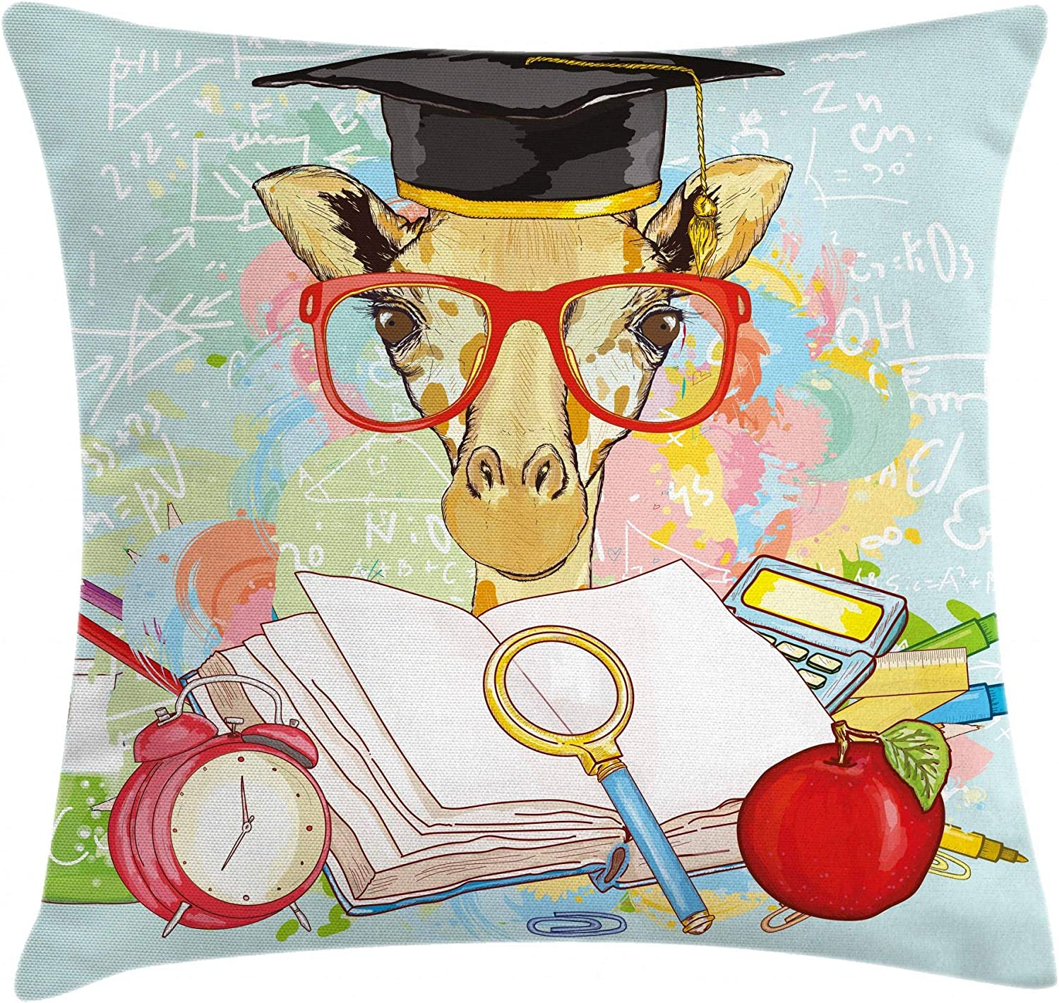Ambesonne Graduation Throw Limited Animer and price revision price sale Pillow Giraffe Cover Hipster Cushion