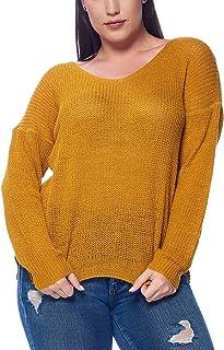 Talent Plus Women's Junior Plus Size Knitted Criss Cross Open Twist Back Pullover Sweater-Many Styles!