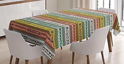 Ambesonne Pastel Tablecloth, Fashion Couture Horizontal Measuring Tape Tailor Pattern Illustration with Numbers, Rectangular Table Cover for Dining Room Kitchen Decor, 60 X 90, Yellow Blue