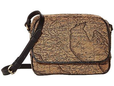 Patricia Nash Belleau New Flap Rect Crossbody w/ One Strap (Tan/Black) Handbags