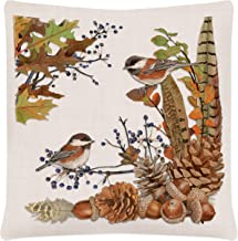 """Fall Chickadees 18""""x18"""" Feathers Right Pillow Cover, Oyster"""
