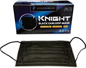 100 4 Ply Black Ear Loop Face Masks for Tattoo Dental Medical Safety, Level 2, 2 Boxes of 50