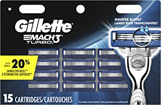 Gillette Mach3 Turbo Men's Razor Blades, 15 Blade Refills (Packaging May Vary)