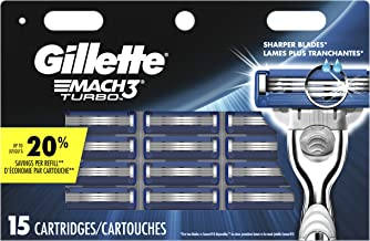 Gillette Mach3 Turbo Men's Razor Blades – 15 Refills