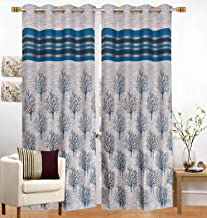 Curtain Screen Parda for Door 1pc Blue Polyster Jute Door Curtain Screen Parda - 7ft by Fresh From Loom
