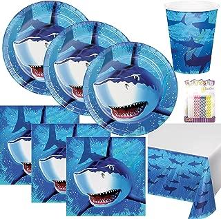 1 PCS 71 x 43.3 Rectangular Disposable Plastic Table Cover Splash Shark Decorations for Boys Kids Birthday Baby Shower Pool Blue Ocean Shark Theme Party Supplies WERNNSAI Shark Party Tablecloth