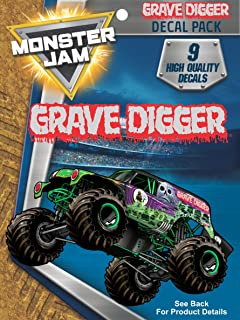 Monster Jam Grave Digger Truck - 9 Piece Licensed Decals Monster Jam Truck Stickers for Kids, Toy Truck Decals are Outdoor Rated All Weather Proof - Easy to Apply To Car Windows and Laptops