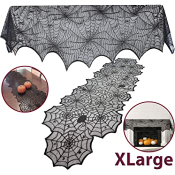 JOYIN 2 Pack Halloween Decoration Black Spiderweb Fireplace Mantle Scarf (36X96 inches) with Black Table Runner Lace Cover (14X80 inches)