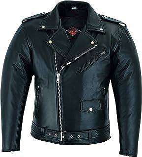 Mens Black Marlon Brando Motorcycle Jacket In Top Grain Leather 6XL