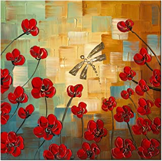 Wieco Art Dragonfly Floral Oil Paintings on Canvas Wall Art Ready to Hang for Bedroom Kitchen Dining Room Home Decorations Modern 100% Hand Painted Stretched and Framed Abstract Flowers Artwork 24x24