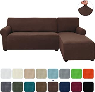subrtex 2-Piece L Shape Sectional Sofa Slipcovers with Right Chaise Sleeves Jacquard High Stretch Furniture Protector 2 Seater Couch Cover for Living Room (Chocolate)