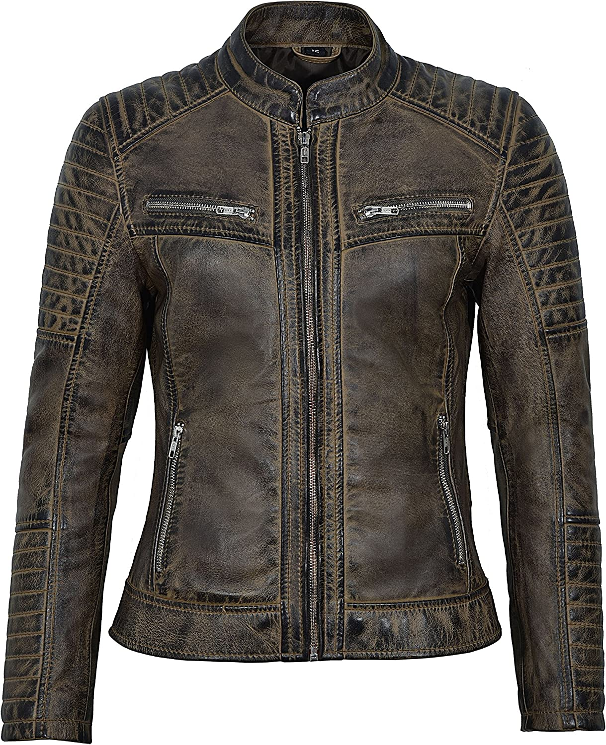 Ladies New Speed Racing Dirty Brown Vintage Biker Style Real Lambskin Leather Jacket 2735