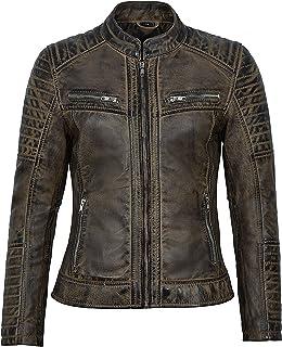 Carrie CH Hoxton Chaqueta de Cuero Real para Mujer 100% Piel de Cordero Vintage Speed Racing Biker Style 2735