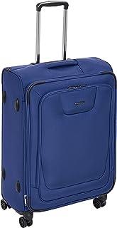 Amazon Basics, Premium, valigia espandibile, morbida, con rotelle multidirezionali e chiusura TSA, 64 cm, Blu