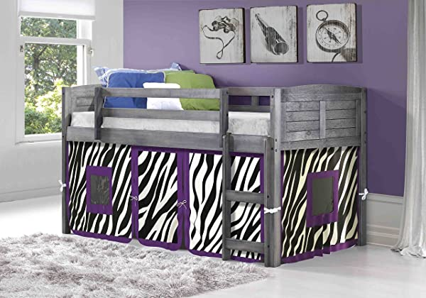 DONCO KIDS 790AAG 750C TZ Louver Low Loft Bed With Camo Tent Twin Antique Grey